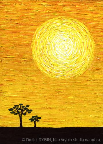 Солнце нарисованное картин